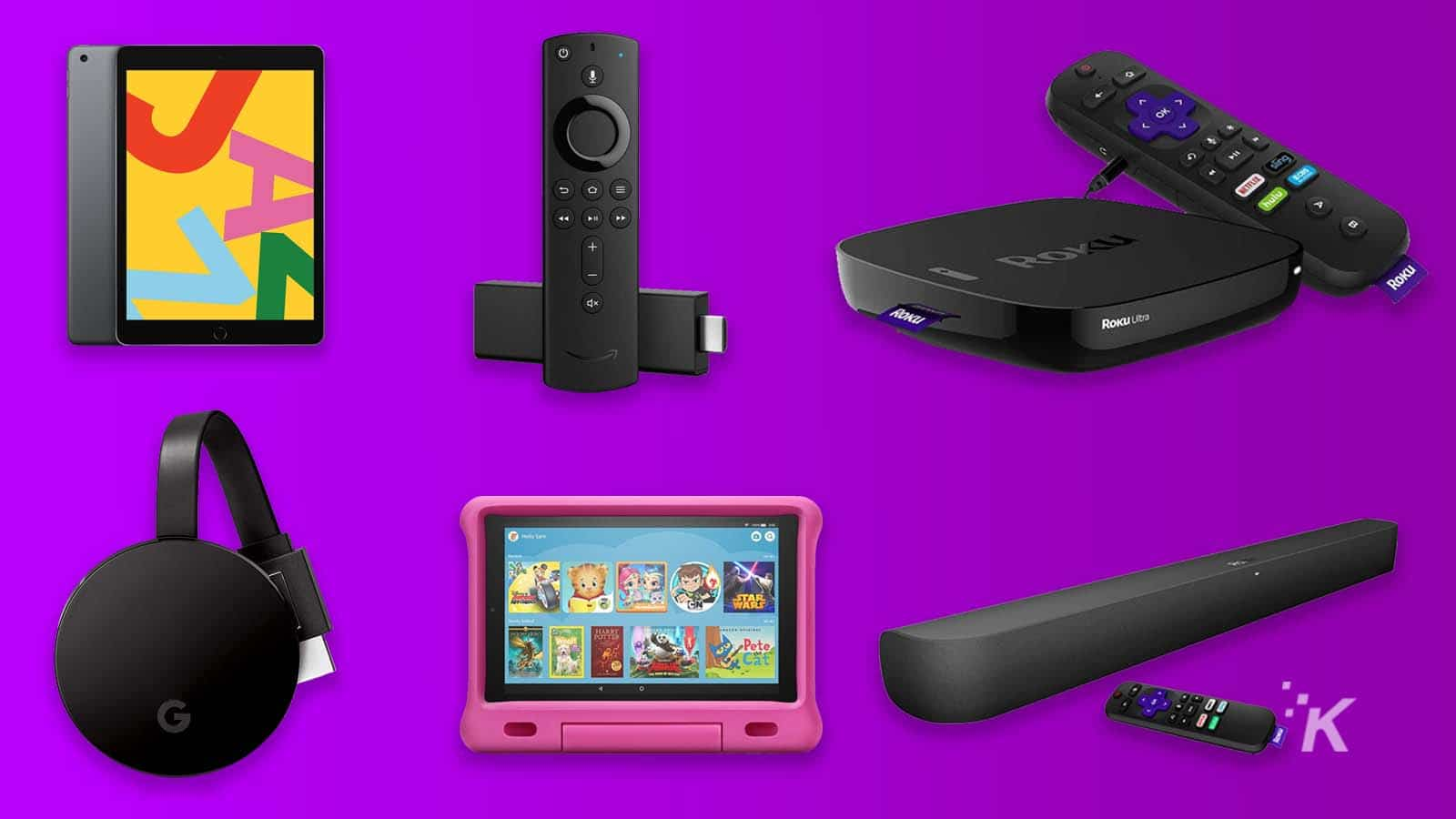 streaming devices on purple background