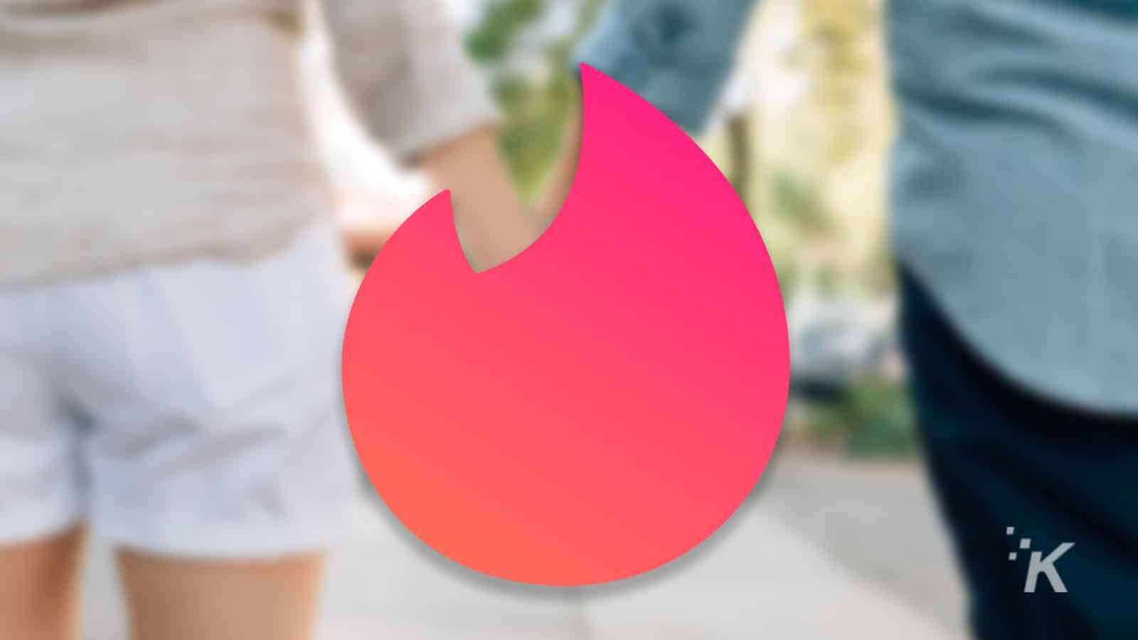 tinder logo on blurred background