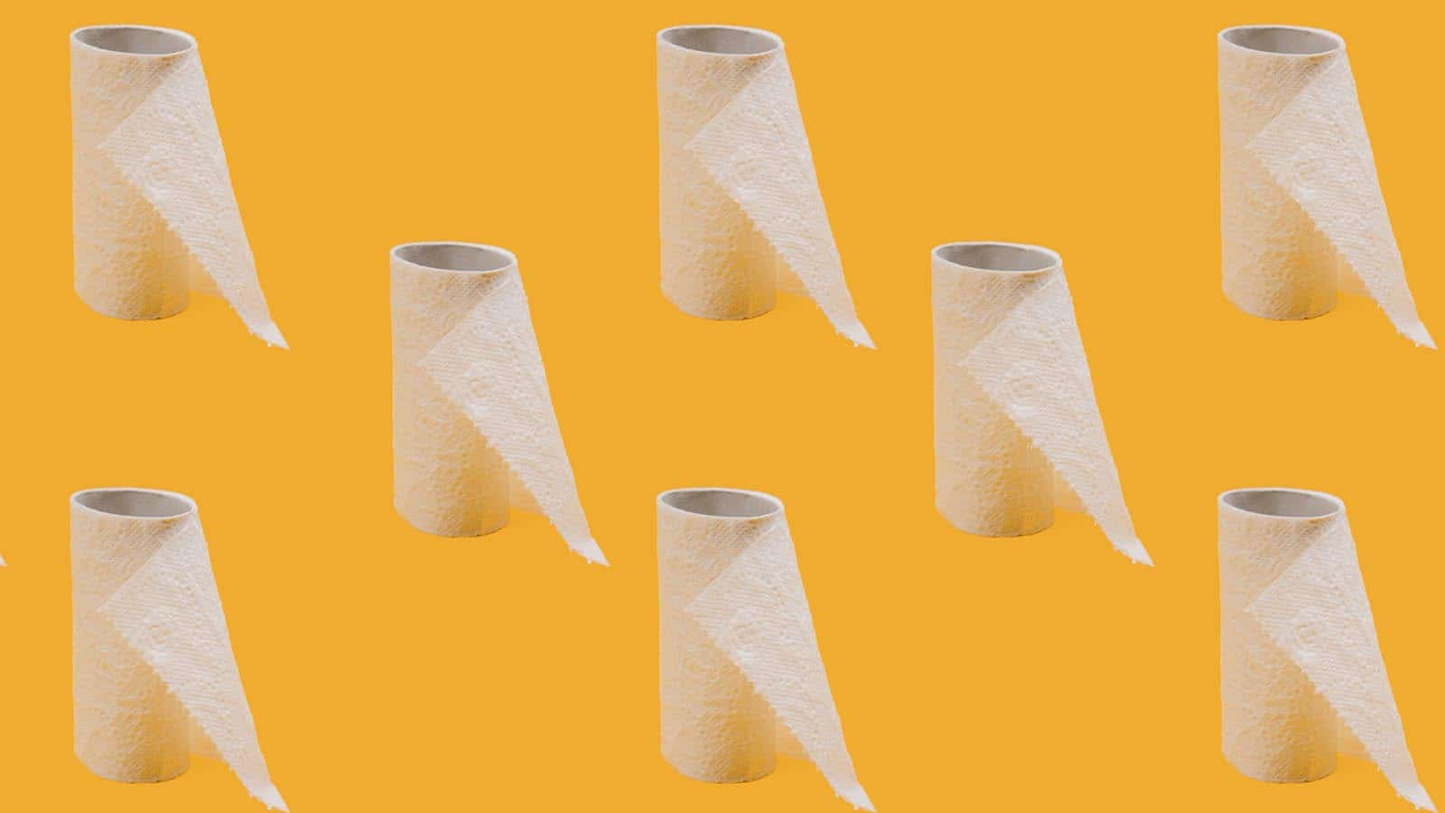 toilet paper on yellow background