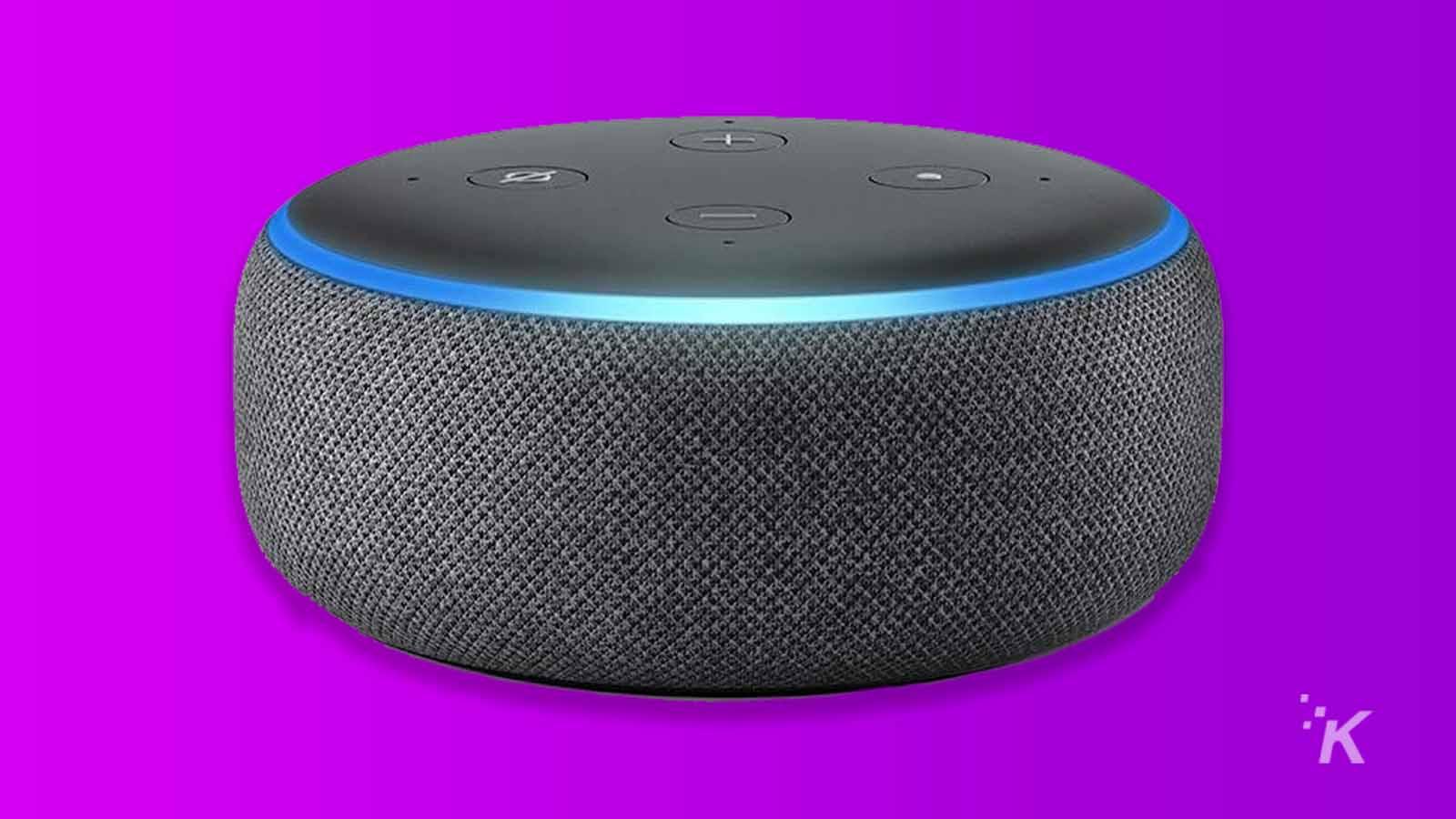 amazon echo dot on purple background