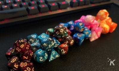 dungeons and dragons dice and keyboard