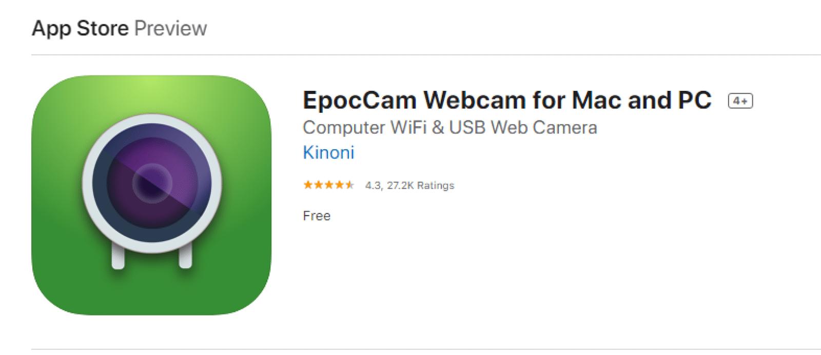 epoccam webcam app