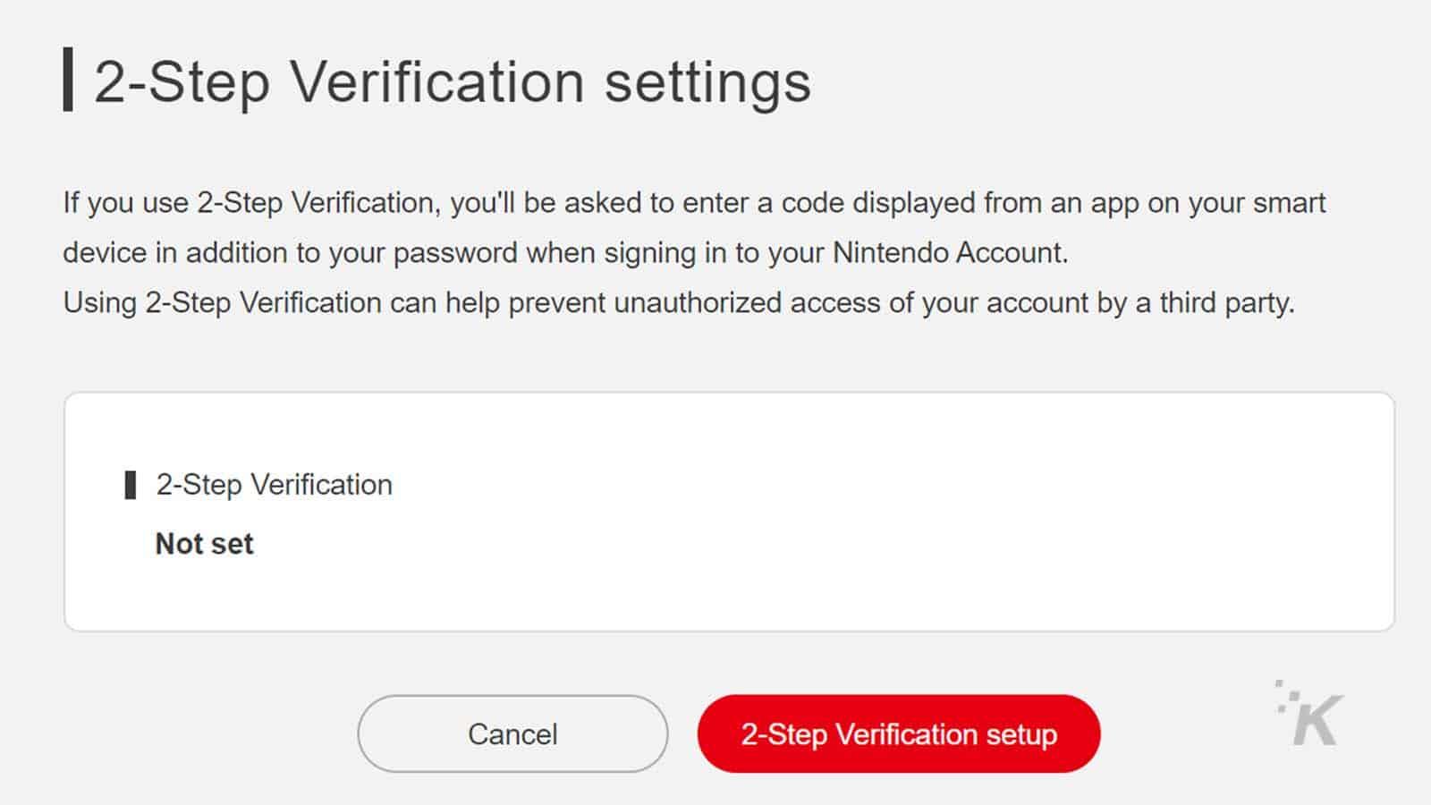 nintendo switch account two-factor setup