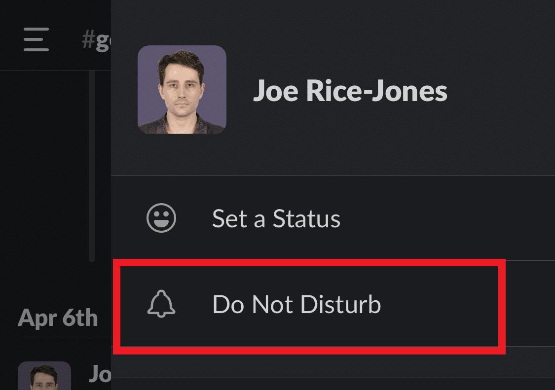 do not disturb on slack