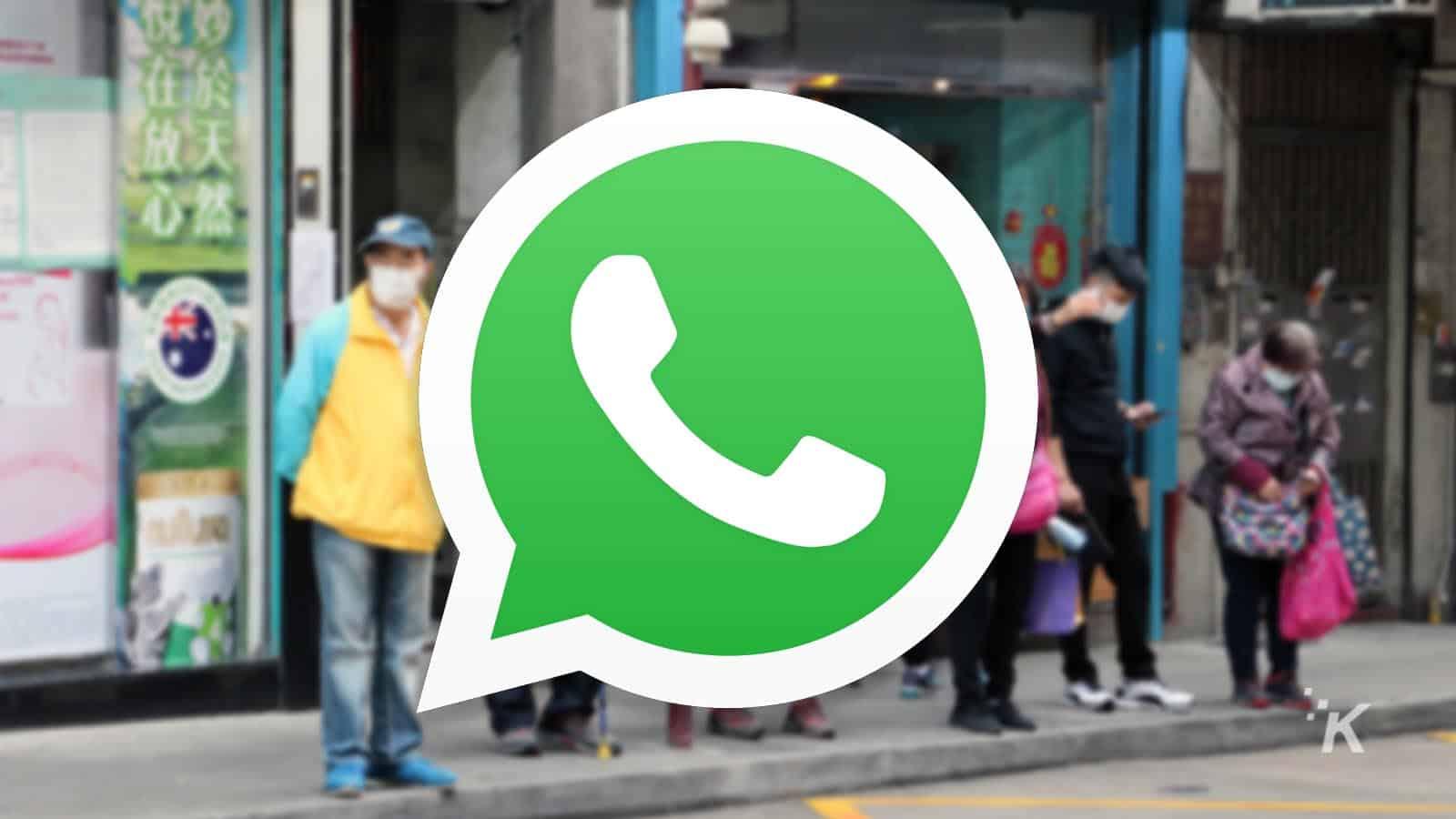 whatsapp logo on blurred background