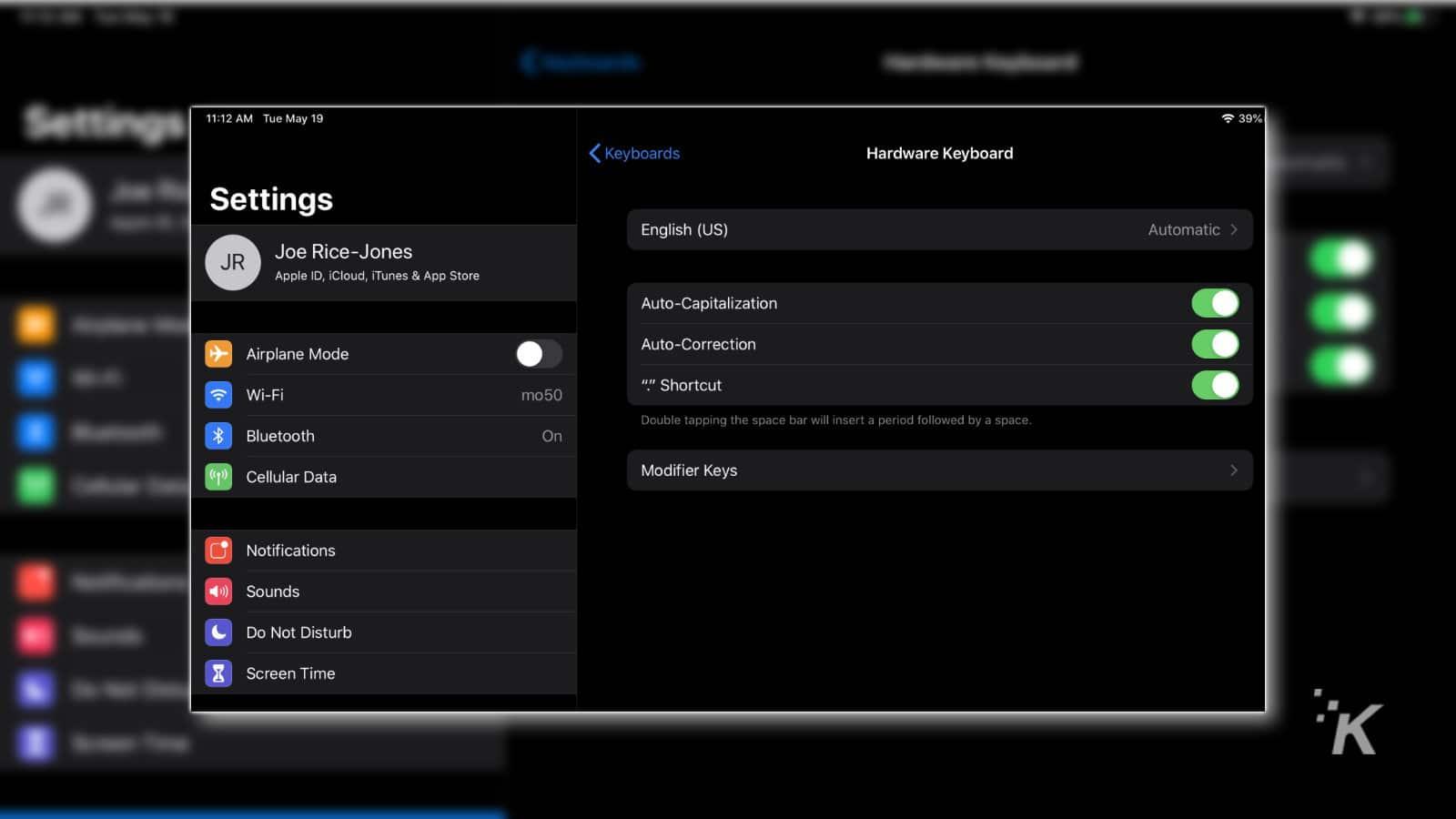 ipad hardware keyboard settings page