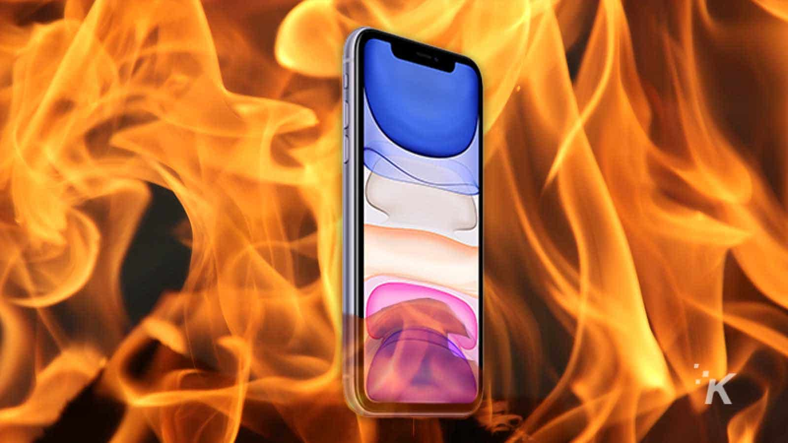 iphone 11 in flames
