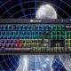 mechanical keyboard on galaxy brain background