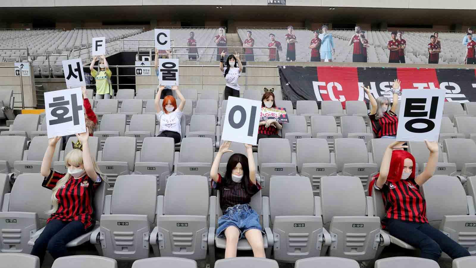 sex dolls in a stadium