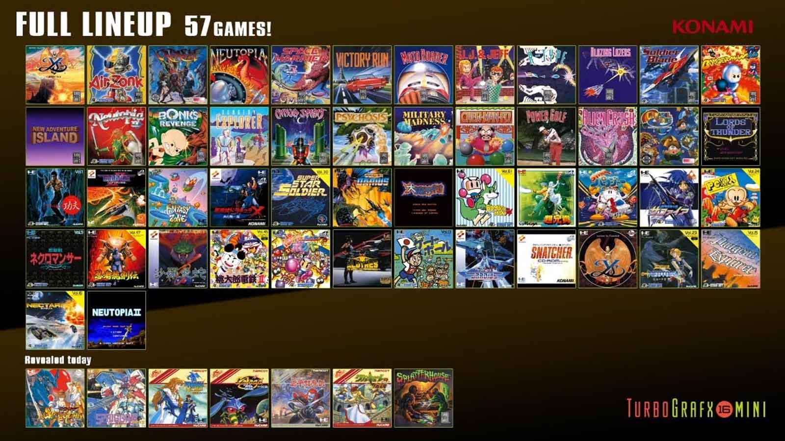 turbografx-16 mini game lineup