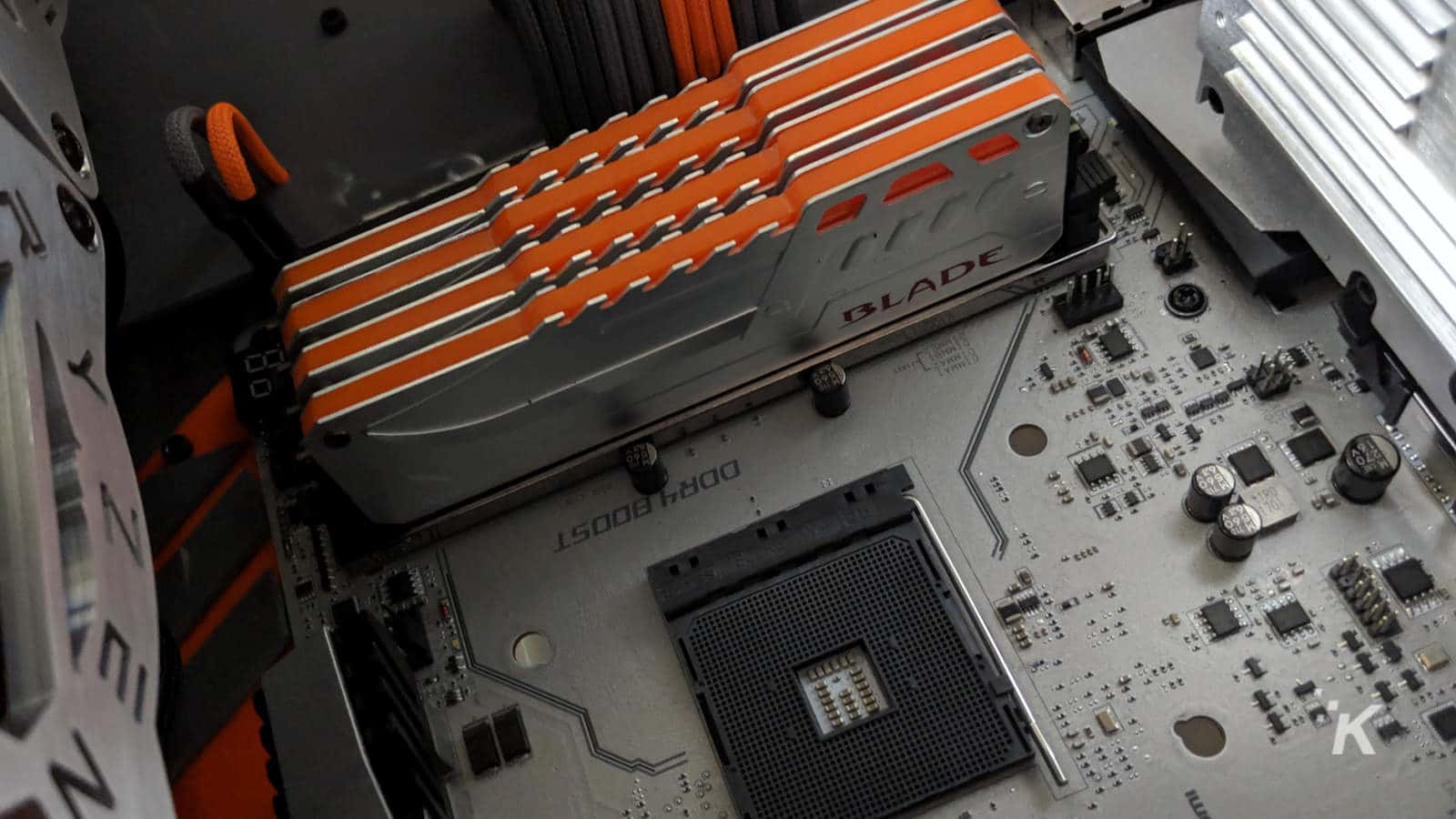 motherboard with ram installed