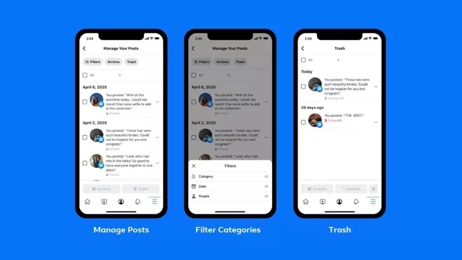facebook manage activity tool screenshots