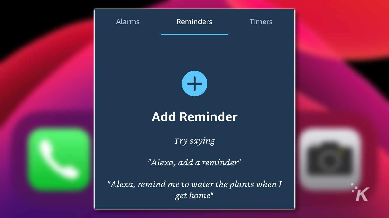 alexa app reminder creation