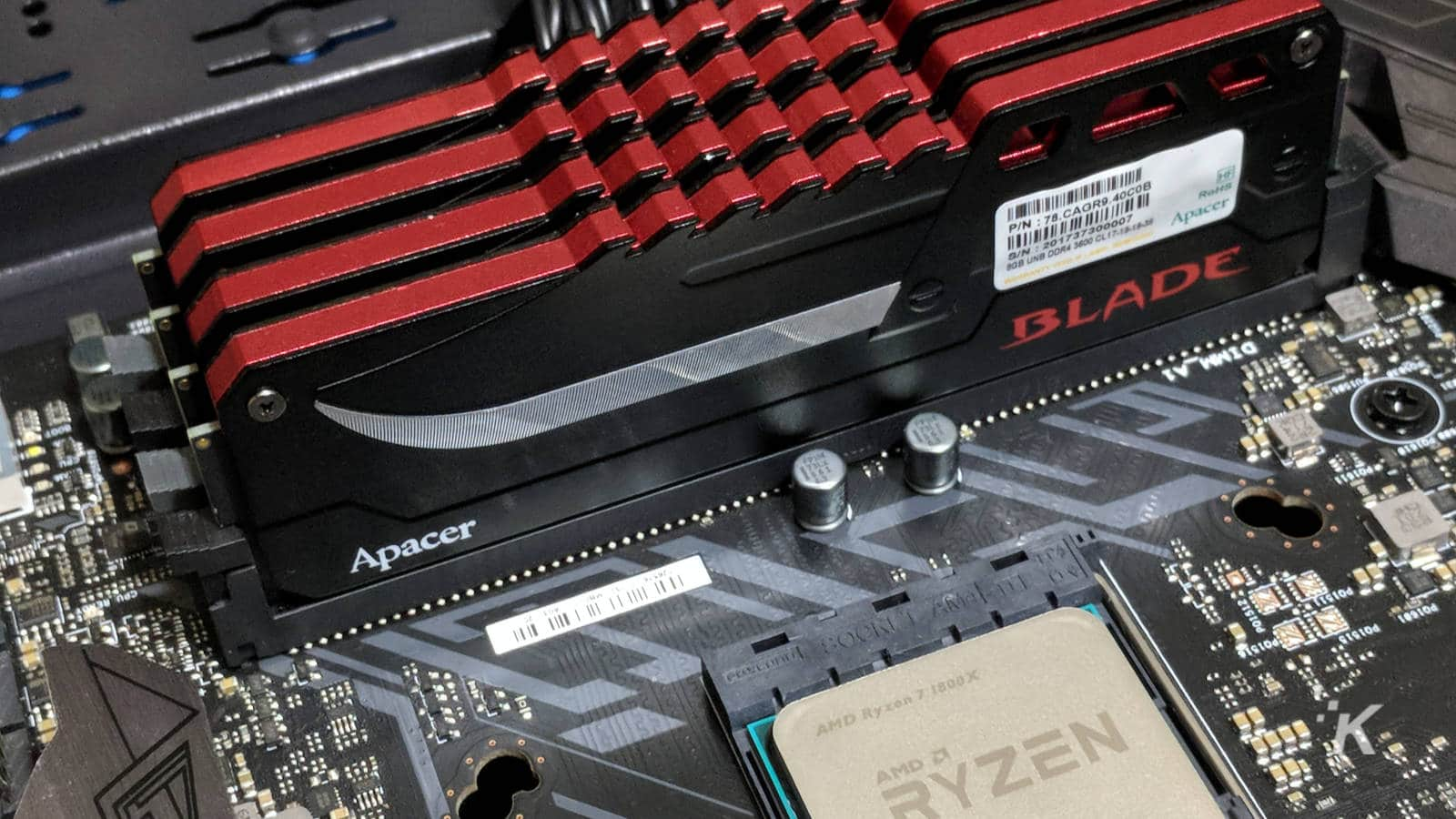 ddr4 ram dimms installed on a motherboard