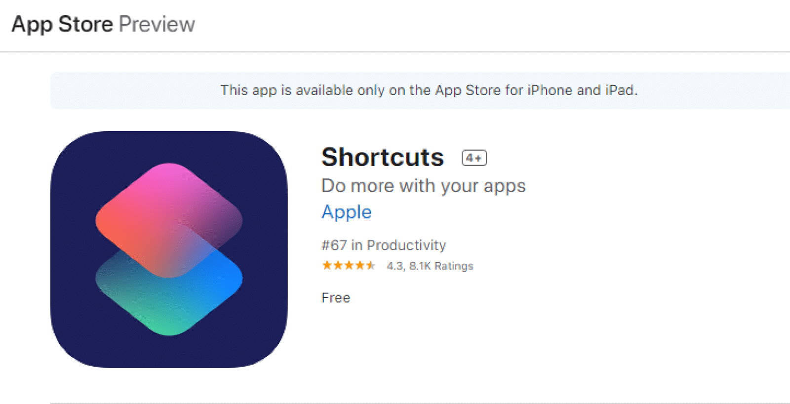 apple shortcuts app store page