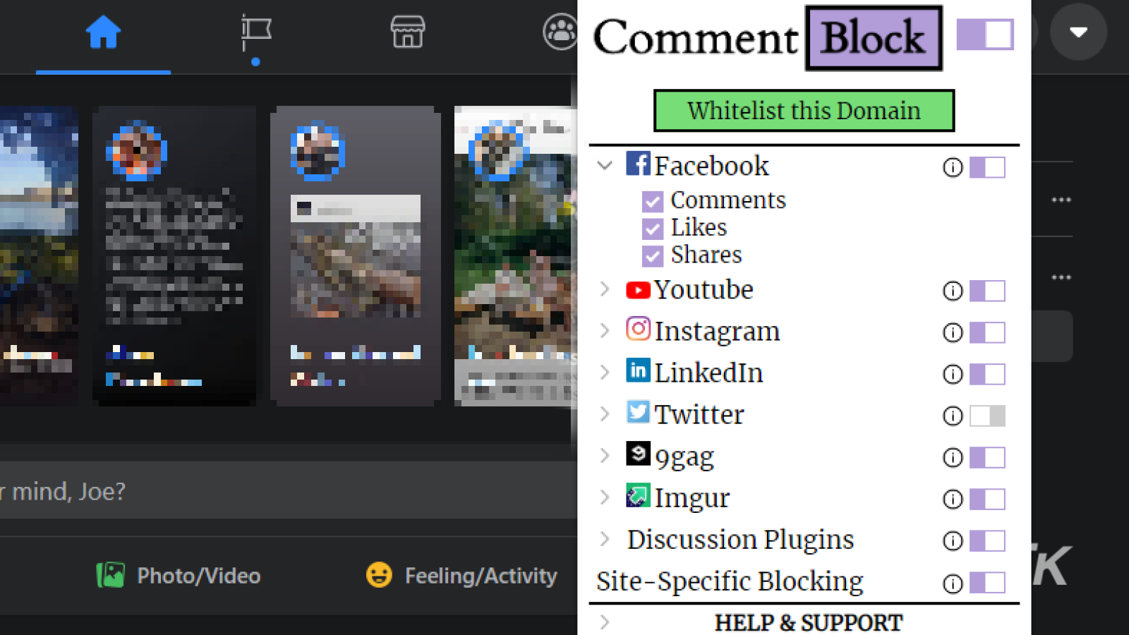 commentblock extension being used on facebook