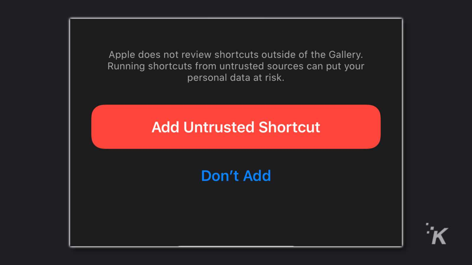install button on its the police siri shortcut