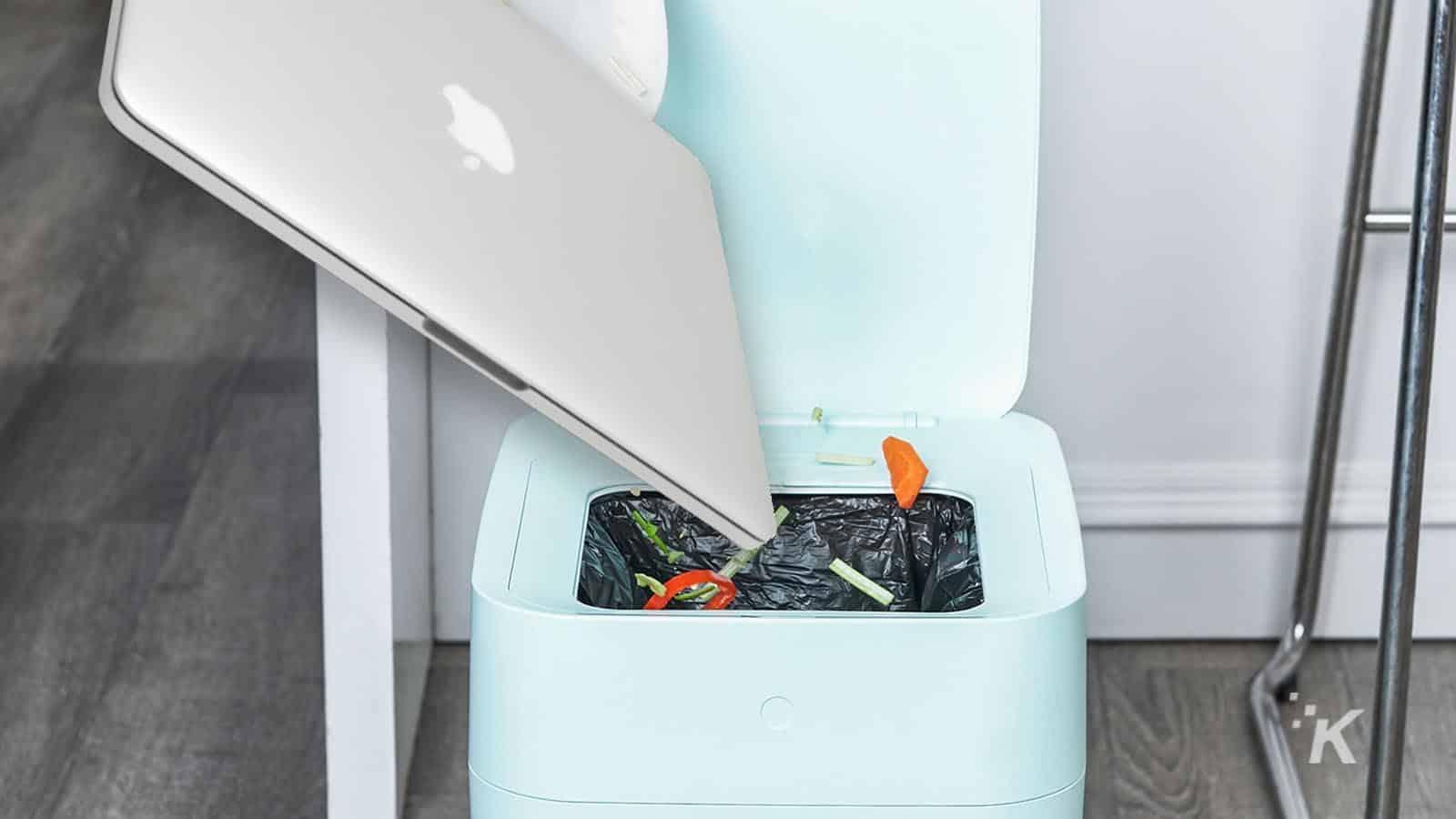 macbook pro in trash can