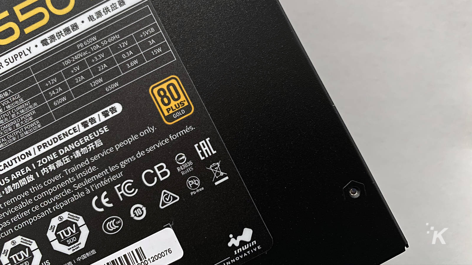 computer power supply rating label