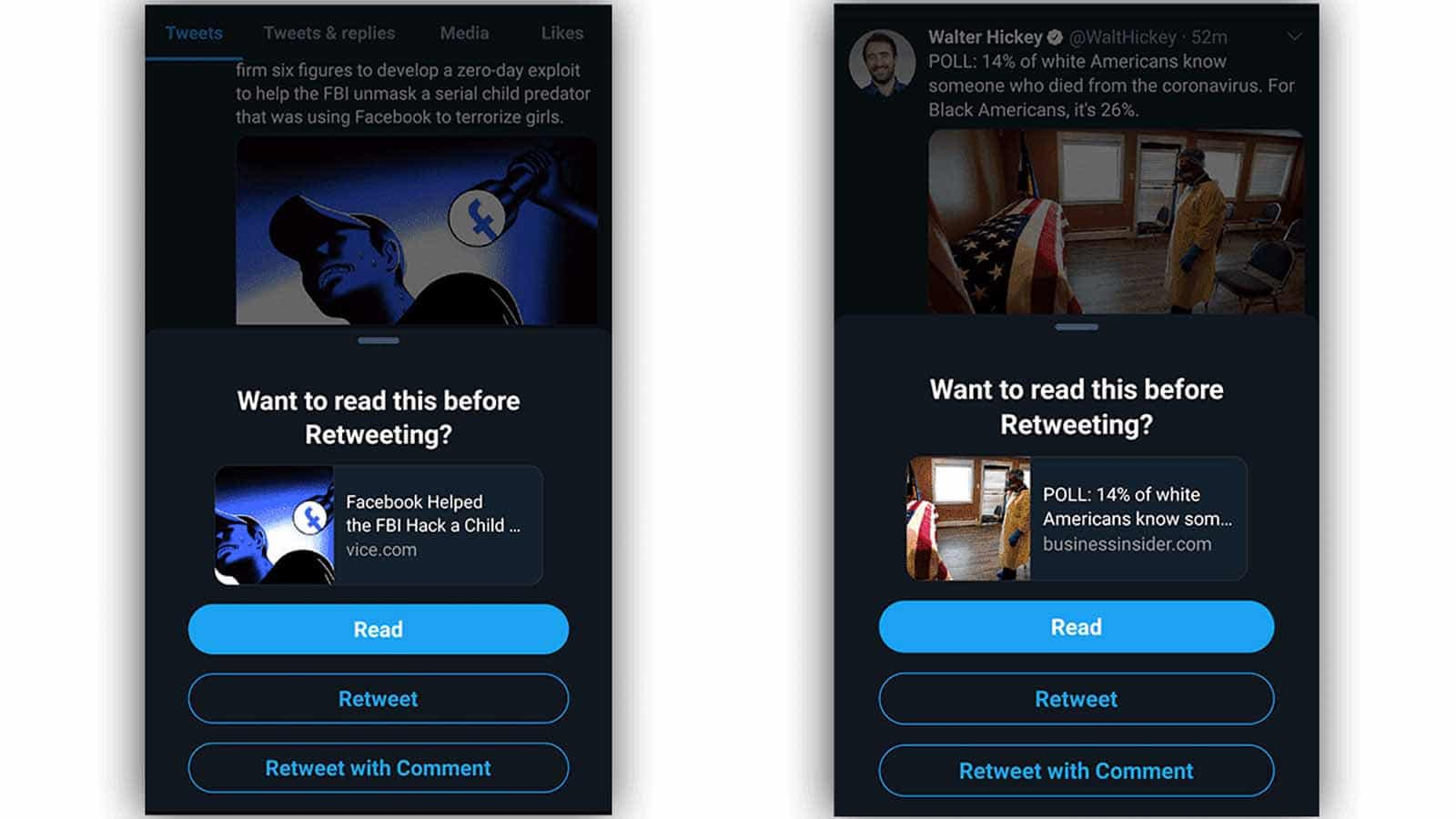 twitter read before retweeting android feature