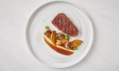 3d-printed plant-based steak on plate