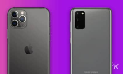 android and iphone on purple background