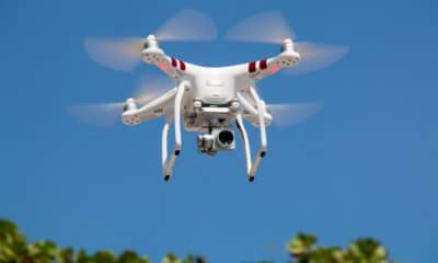 drone flying outdoors above trees