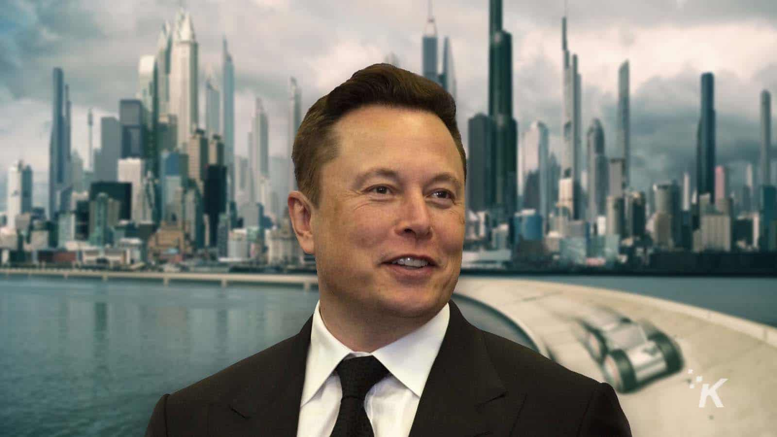 elon musk with futuristic city as background
