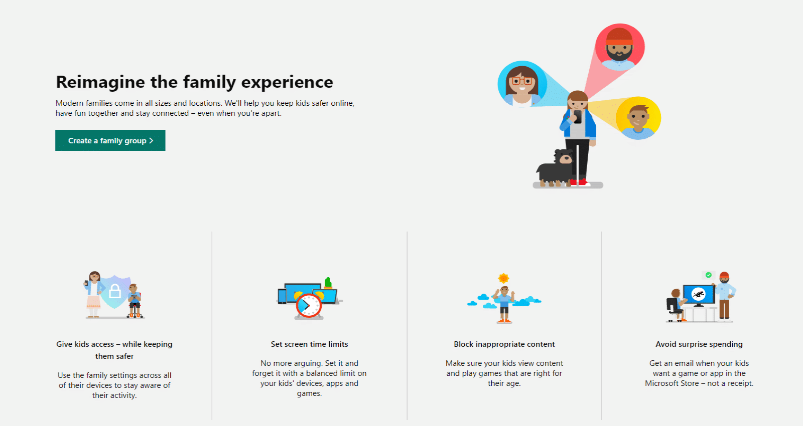 family group creation microsoft safety app
