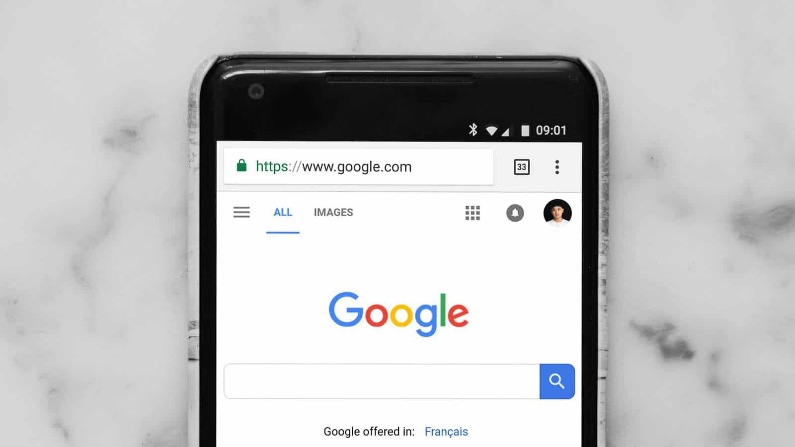 google app on smartphone