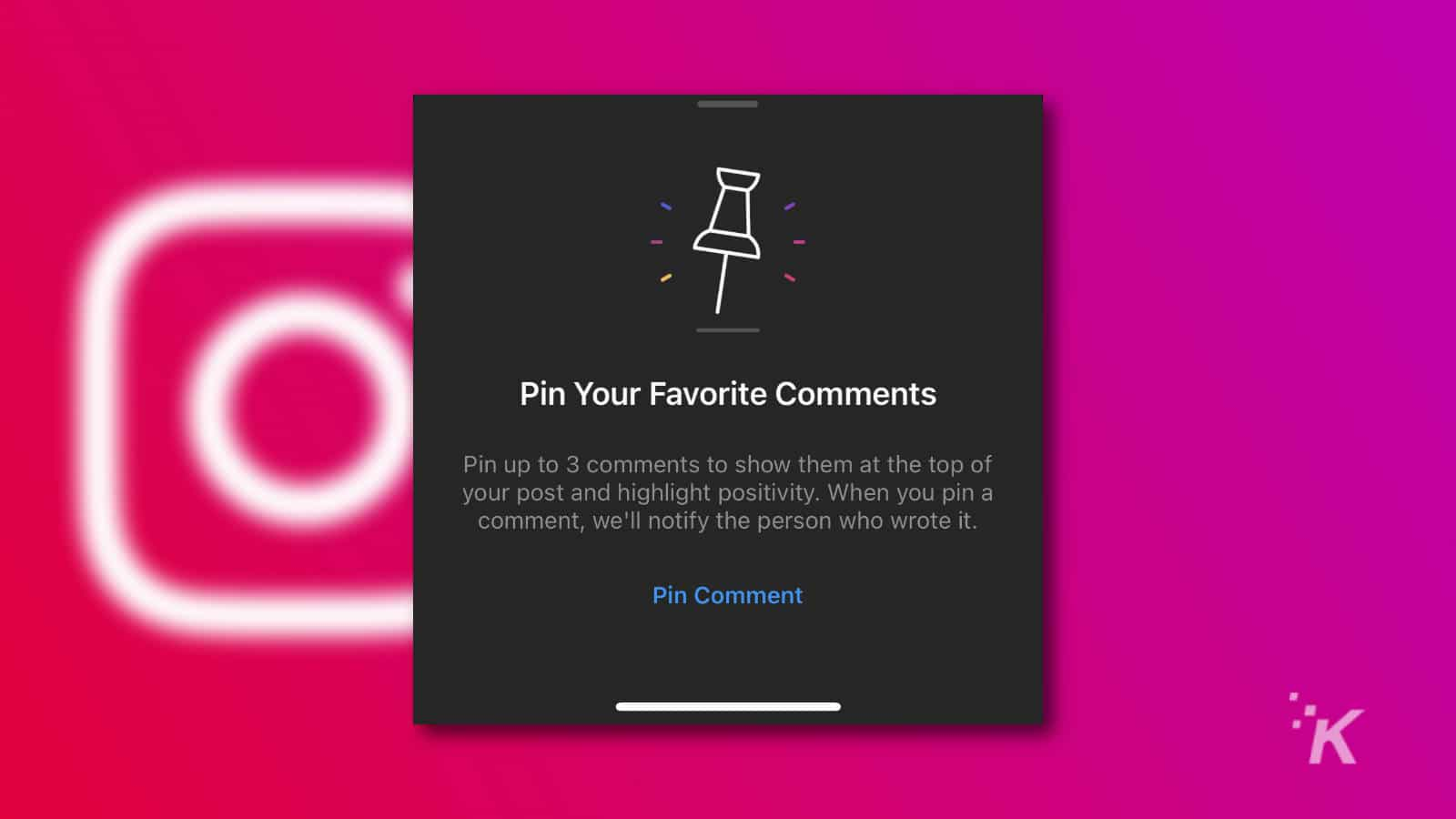 instagram pinned comments