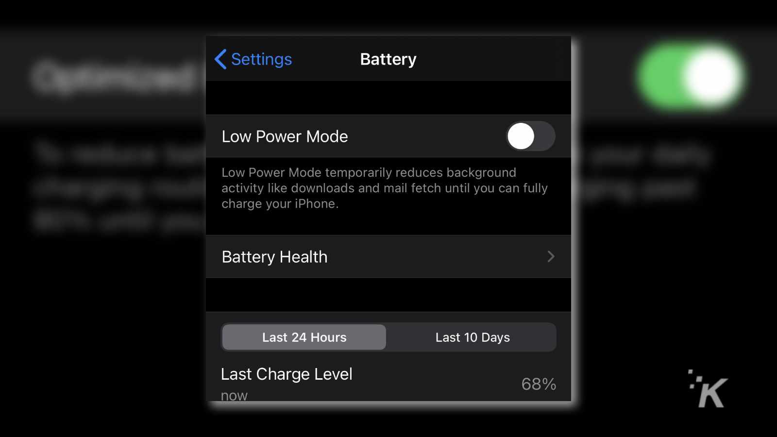ios battery menu