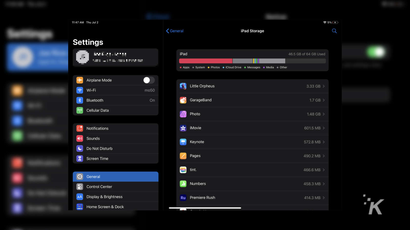 ipad storage settings menu
