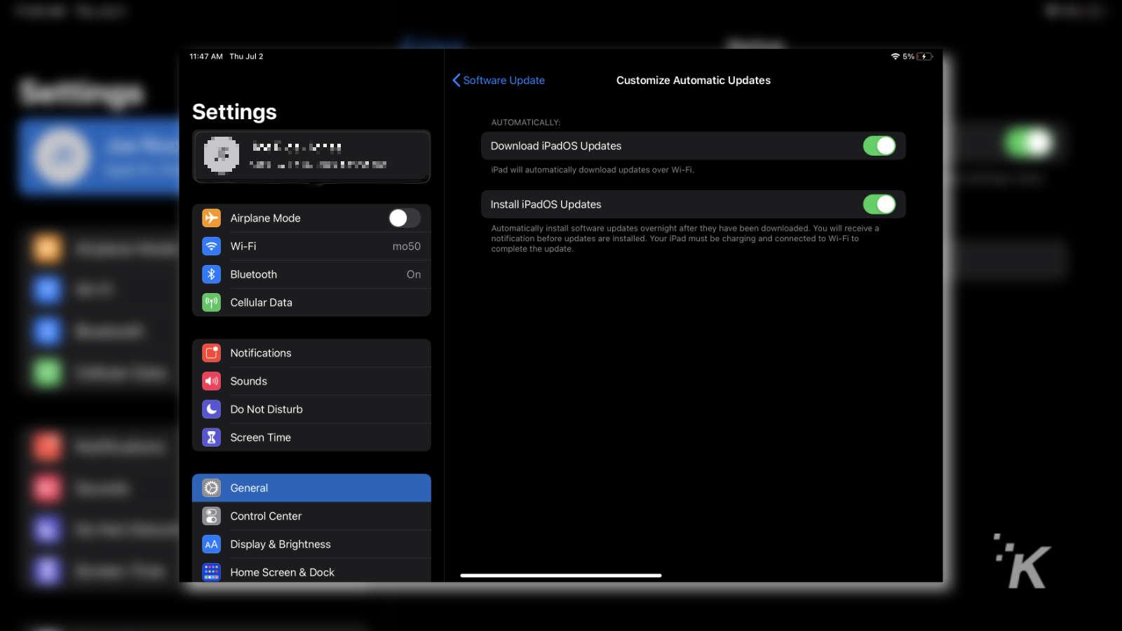 ipad update settings menu