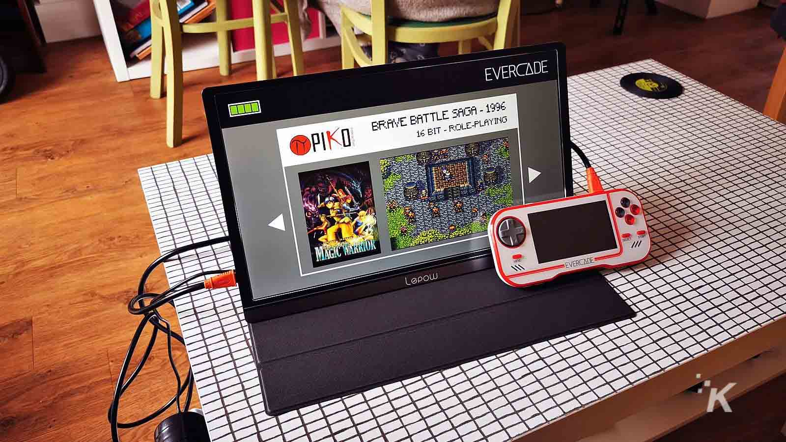 lepow screen on table with retro games