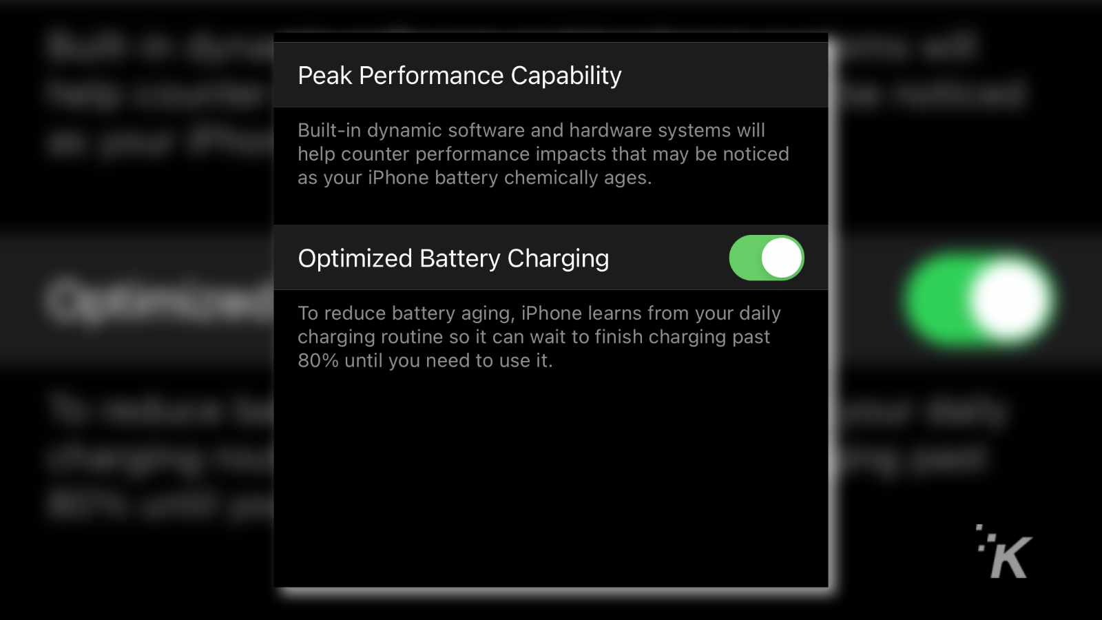 ios battery settings page