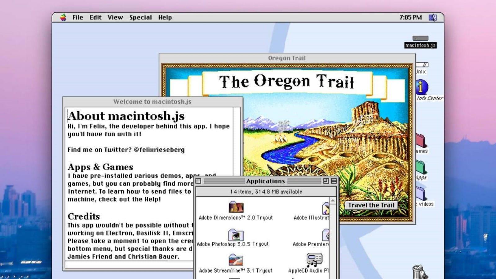 oregon trail running on emulated macos 8.1