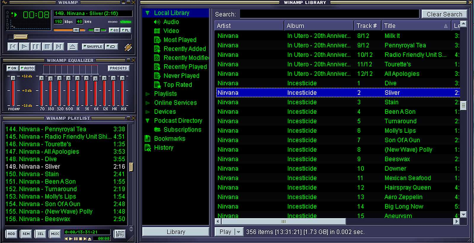 winamp MP3 player with classic skin