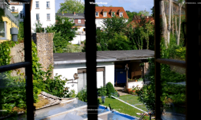 view of backyard from an upstairs window