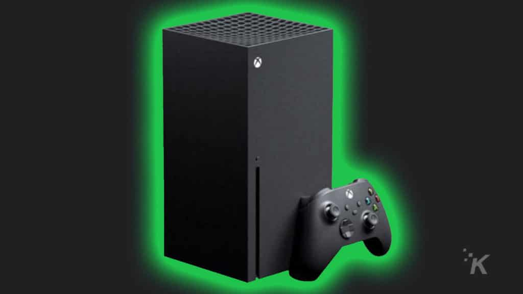 xbox series x with a green glow