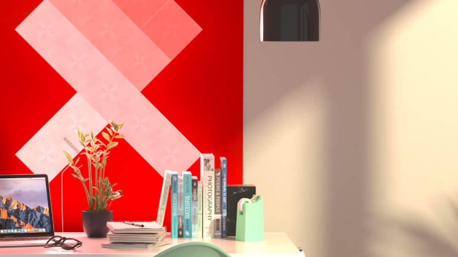 nanoleaf canvas light panels above desk