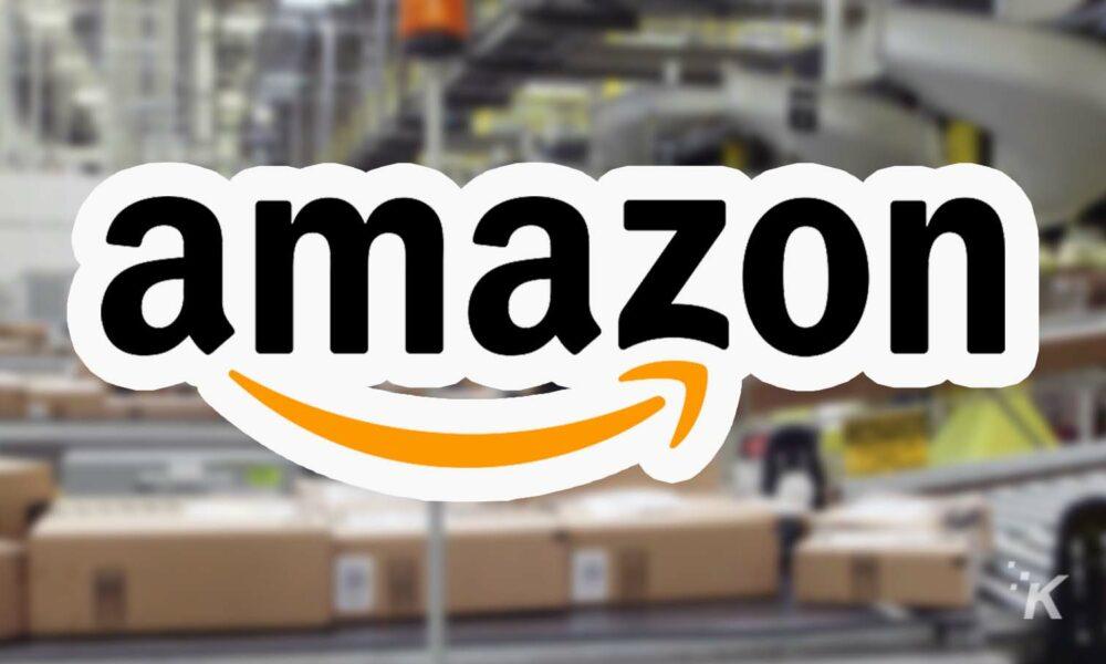 amazon logo with warehouse in background echo