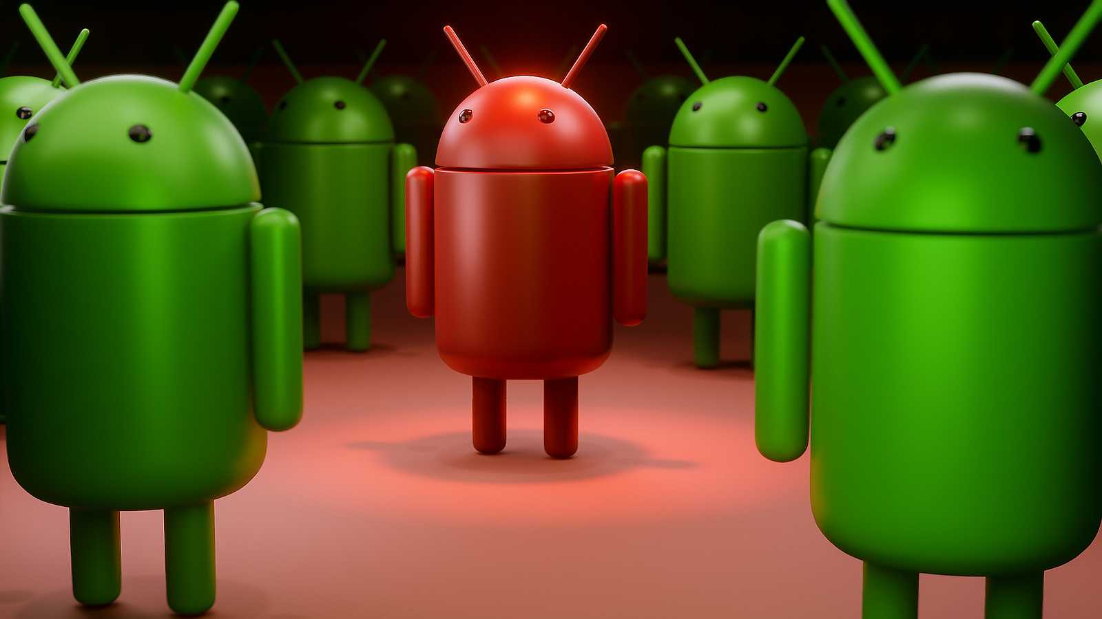 android mascot in red with a virus