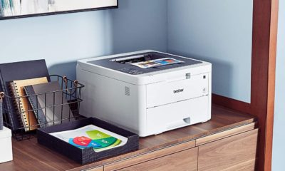 brother printer toner on side table