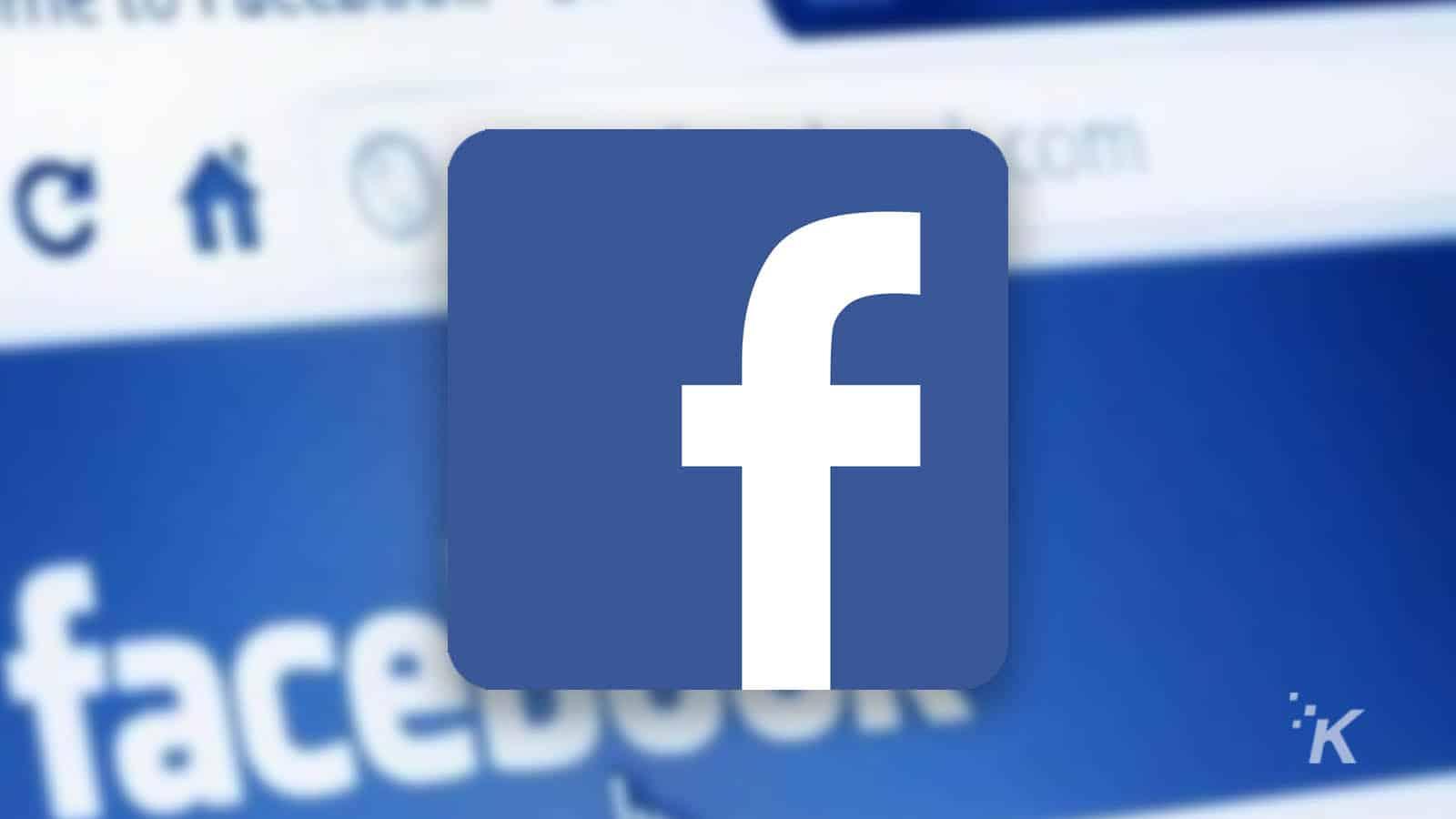 facebook logo with blurred facebook website in background