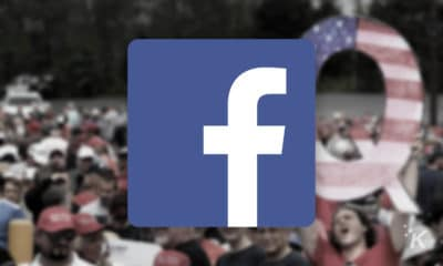 facebook logo with qanon supporters in background