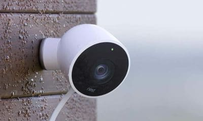 google nest home security camera on wall