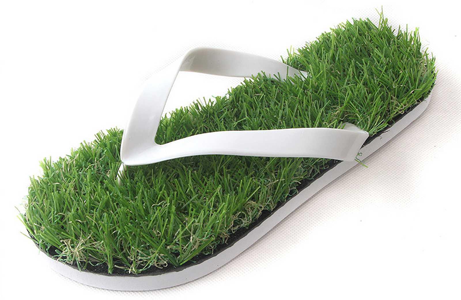 grass lined flip flops
