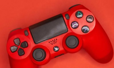 red playstation 4 dualshock 4 controller