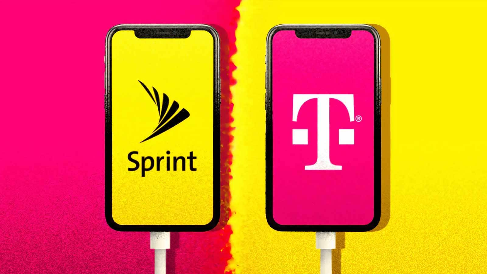 t-mobile and sprint logo on smartphones